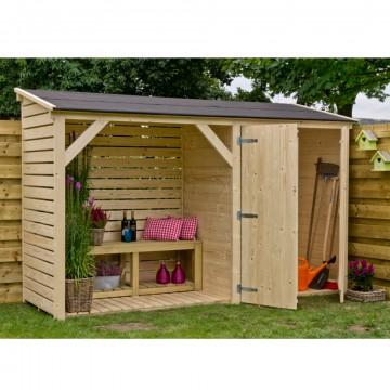 Legnaia da giardino in legno con ripostiglio 320x110x234 h for Legnaia con ripostiglio