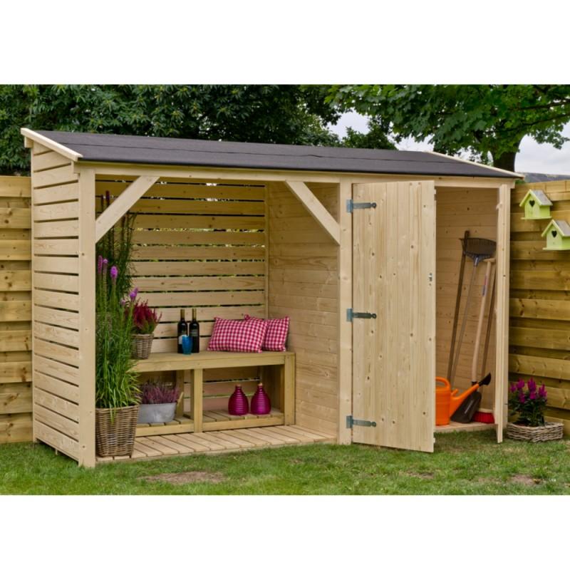 Legnaia da giardino in legno con ripostiglio 320x110x234 h - Ripostiglio in legno da giardino ...