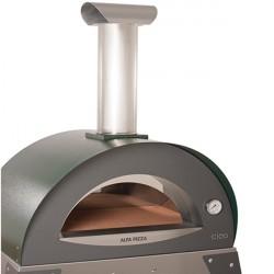 """Forno a Legna """"CIAO M"""" in Acciaio Inox ALFA REFRATTARI - Colore Verde - 6 pizze in 15 minuti - ALFA PIZZA"""