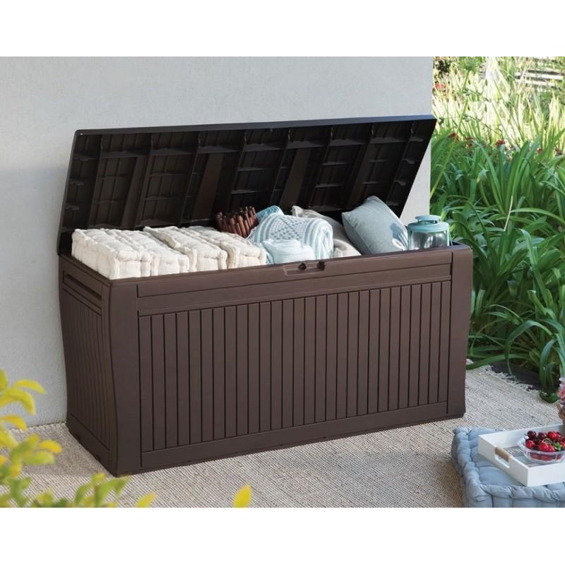 Baule in resina 117x45x57 cm keter comfy for Baule da giardino resina