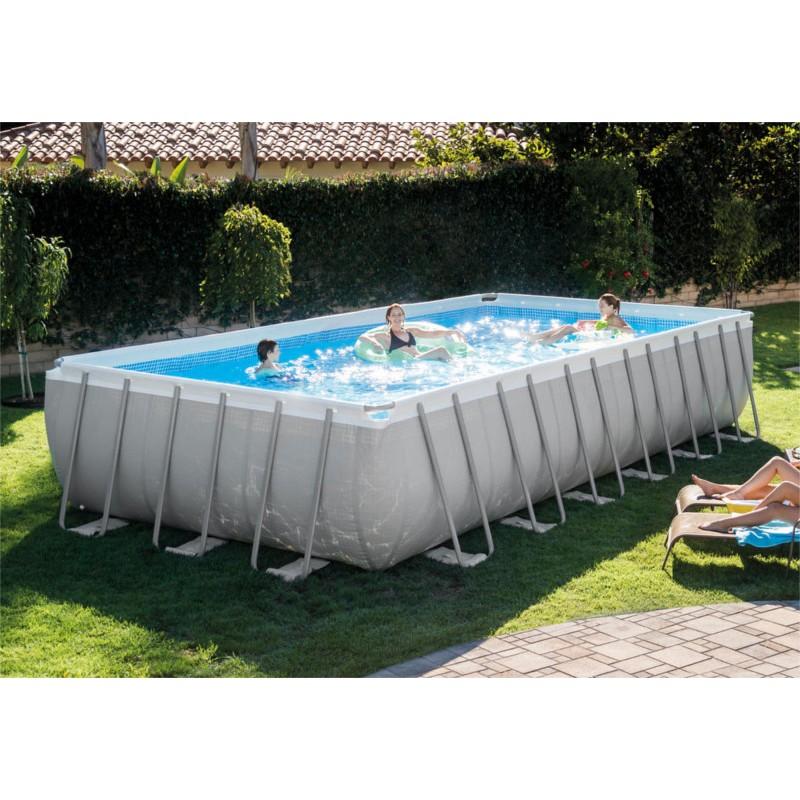 Piscina rettangolare fuoriterra ultra frame cm 732x366x132 con pompa sabbia scaletta telo base - Telo copertura piscina intex ...