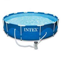 Piscina rotonda fuoriterra con struttura di paletti metallici FRAME cm 366x76 con pompa filtro - INTEX 28212