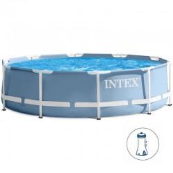 Piscina rotonda fuoriterra con struttura di paletti metallici PRISMA FRAME cm 305x76 con pompa filtro - INTEX 28702