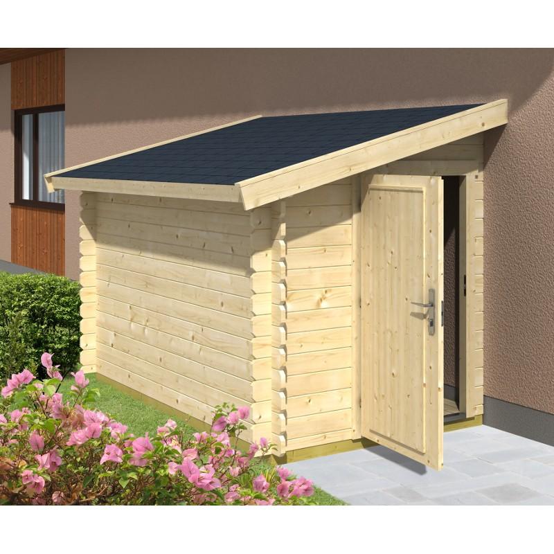 Casetta da giardino in legno 174x300x188 h addossata 260 garten pro 288600 mollostore - Box bici da giardino ...