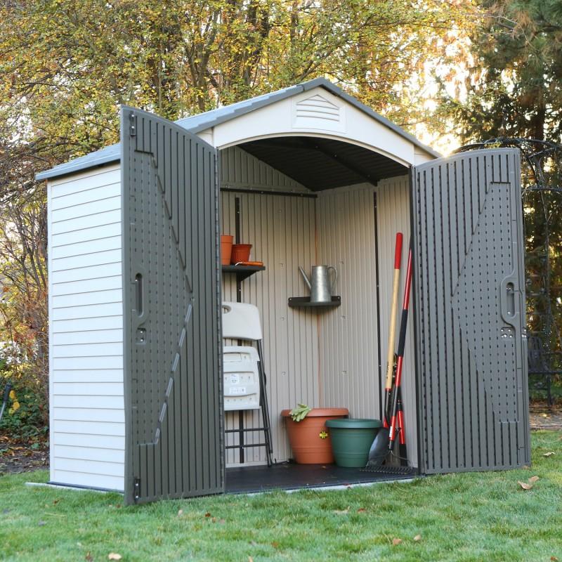 Casetta da giardino in resina 214x142x227 h lifetime 60057 mollostore - Box porta attrezzi da giardino in pvc ...