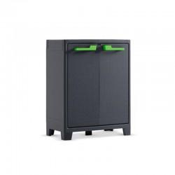 Armadio basso in plastica con piani regolabili 44X80X100 cm - Moby Armadio Basso Grigio Grafite - KIS 9762100 0708