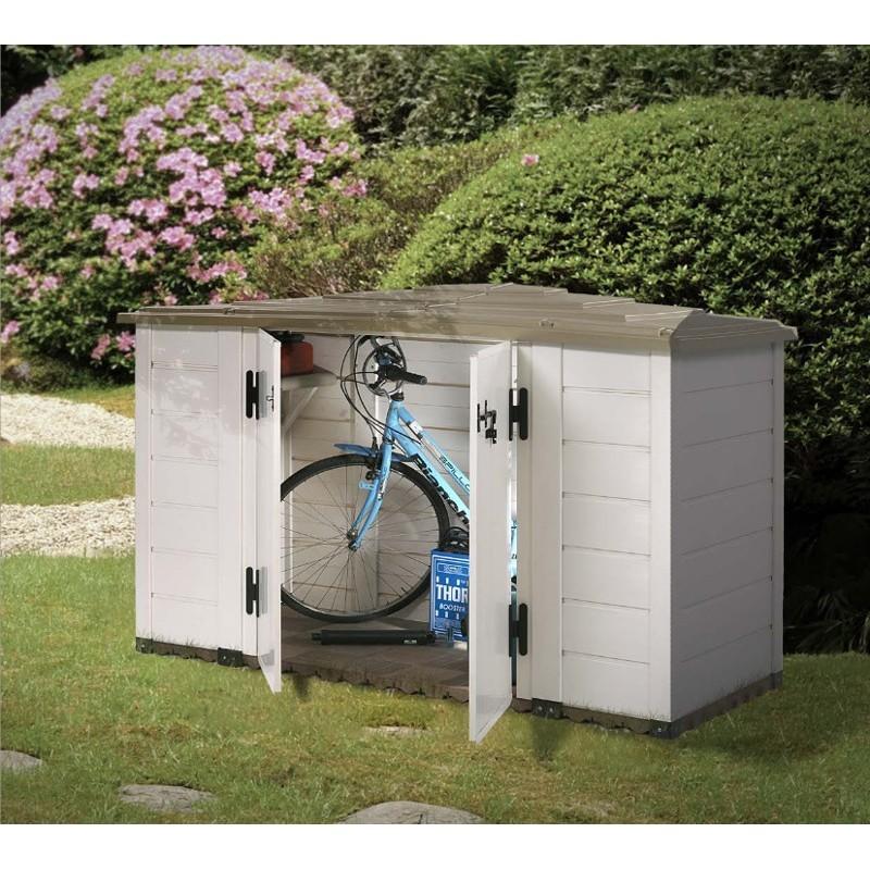 Portattrezzi da giardino in pvc 212x88x133 cm garofalo box evo 200 mollostore - Box bici da giardino ...