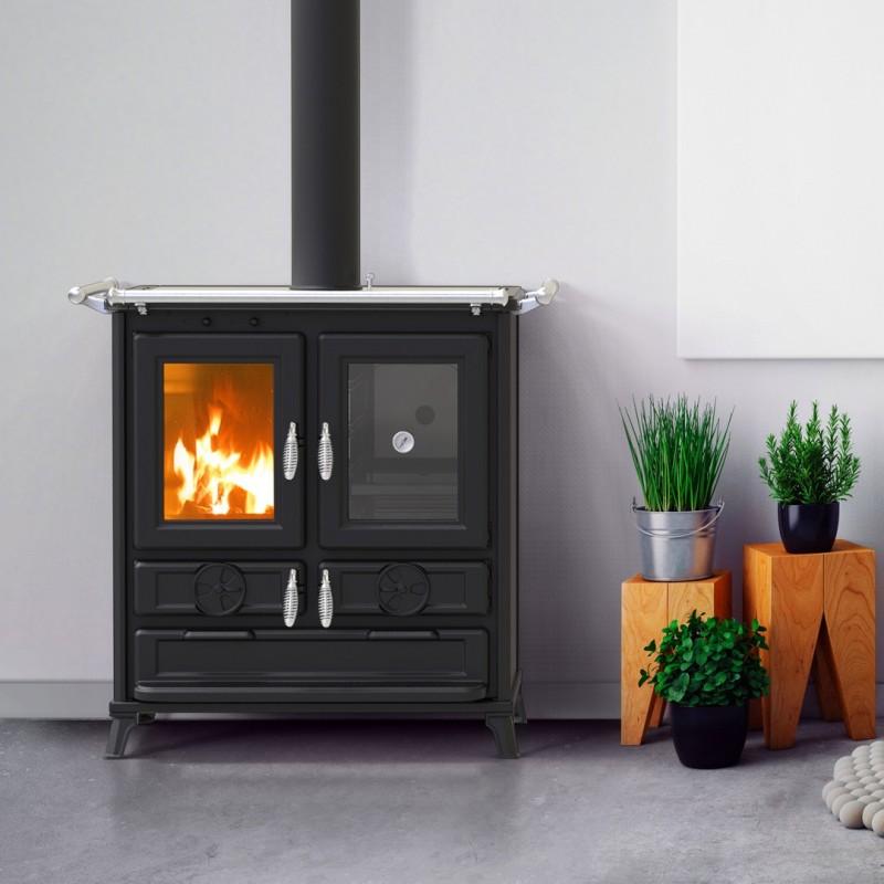 Cucina a Legna KLARETTA GRIGIO 9 kW con forno - THERMOROSSI - ANTRACITE