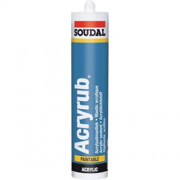 Sigillante plasto-elastico Bianco monocomponente in dispersione acrilica - SOUDAL ACRYRUB - 310 ml - 102600