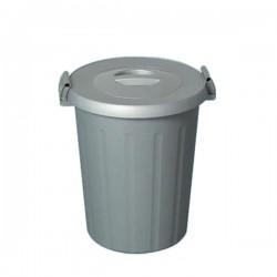 Bidone grigio con coperchio e manici lt 25 con adesivi colorati Tata Okey - ICS