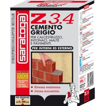 Cemento Grigio per Interni ed Esterni Specifico per la Preparazione di Malte SARATOGA Z3.4 Conf. 1 kg