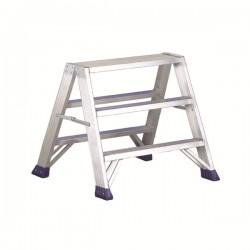 """Sgabello con scaletta doppia a gradini a due tronchi di salita in Alluminio 2 Gradini """"Punto Large"""" SPUNTOL2 - SVELT"""