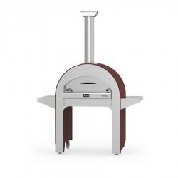 """Forno a Legna """"4 Pizze"""" in Acciaio Inox Rosso Antico ALFA REFRATTARI - 14 pizze in 15 minuti - ALFA PIZZA"""