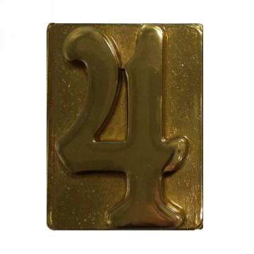"""Numero Civico in Ottone Lucido """"4"""" - ALUBOX"""