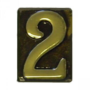 """Numero Civico in Ottone Brunito """"2"""" - ALUBOX"""