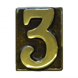 """Numero Civico in Ottone Brunito """"3"""" - ALUBOX"""
