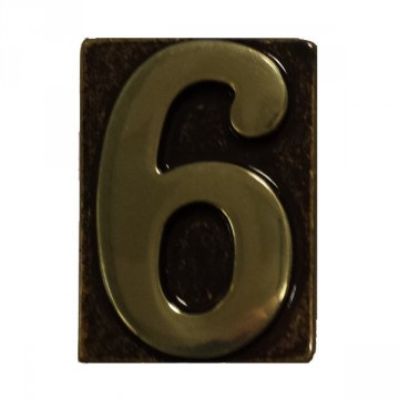 """Numero Civico in Ottone Brunito """"6"""" - ALUBOX"""
