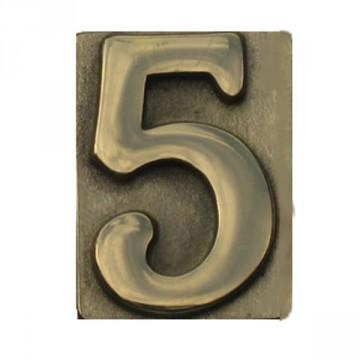 """Numero Civico in Ottone Lucido """"5"""" - ALUBOX"""