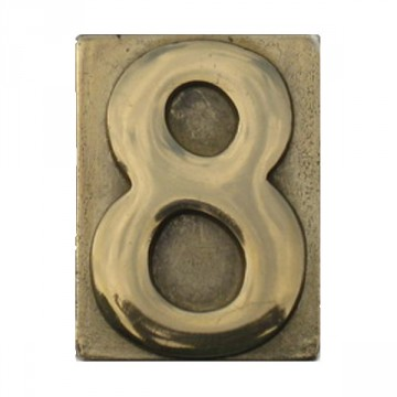 """Numero Civico in Ottone Lucido """"8"""" - ALUBOX"""