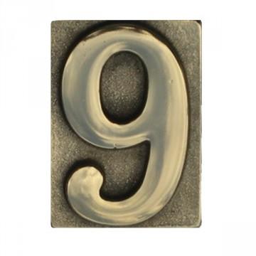"""Numero Civico in Ottone Lucido """"9"""" - ALUBOX"""