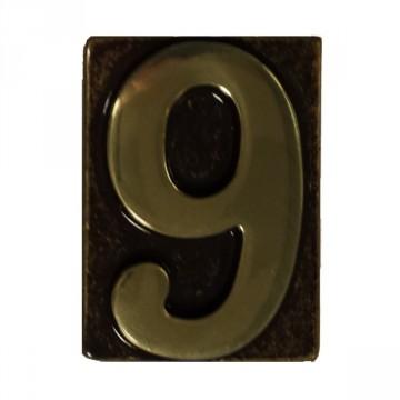 """Numero Civico in Ottone Brunito """"9"""" - ALUBOX"""