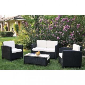 """Salotto da giardino """"Dubai"""" 2 poltrone 1 divano e 1tavolino in rattan nero - VERDEMAX 9340"""