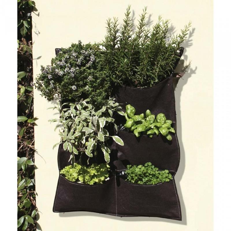 Orto appeso 6 tasche in tessuto 56x70cm verdemax 2289 for Vasi per fragole