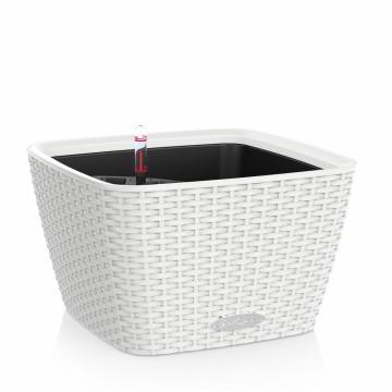 Vaso BACINO COTTAGE - Bianco 30 x 30 x h 18 cm - con sistema di AUTO-IRRIGAZIONE - Materiale Plastico - LECHUZA