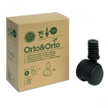 Ruote per Vaso Modulare Orto&Orto (conf. 4 pz) - Materiale Plastico Colore cotto - Orto&Orto NOVITAL