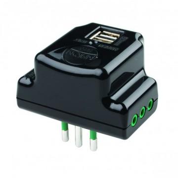Adattatore triplo salvaspazio con 2 prese USB + 3 prese elettriche - FANTON 87801
