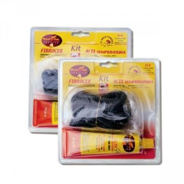 KIT Silicone + Guarnizione di chiusura in fibra di vetro diam. 8 mm FIBROCER e ALTA TEMPERATURA - BEST FIRE
