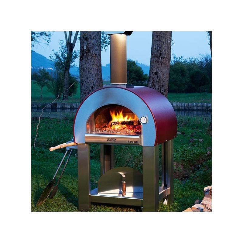 Forno a legna 5 minuti in acciaio inox con base alfa refrattari 6 pizze in 15 minuti alfa - Forno pizza casa legna ...